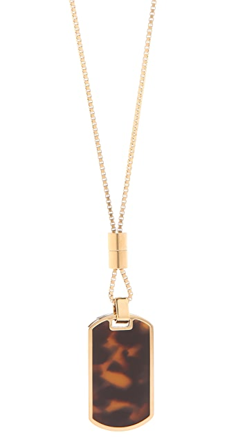 Michael Kors Pave & Tortoise Dog Tag Necklace