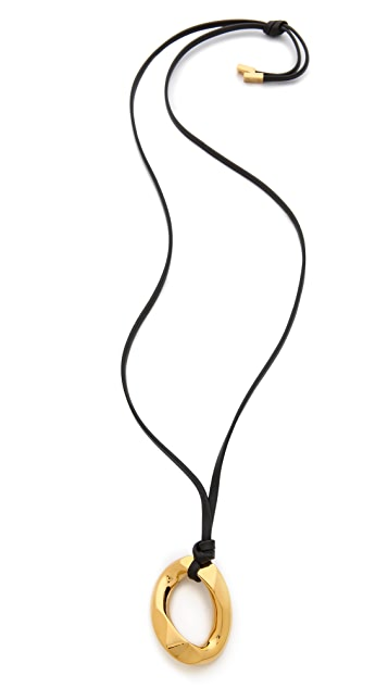 Michael Kors Curb Pendant Leather Necklace
