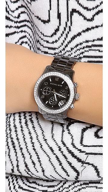 Michael Kors Pave Runway Ceramic Watch