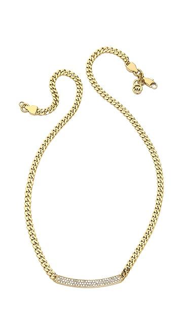 Michael Kors Logo Plaque Pave Necklace