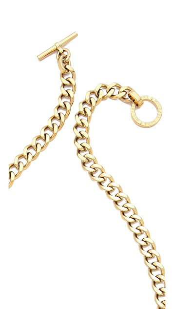Michael Kors Two Tone Curb Chain Statement Necklace