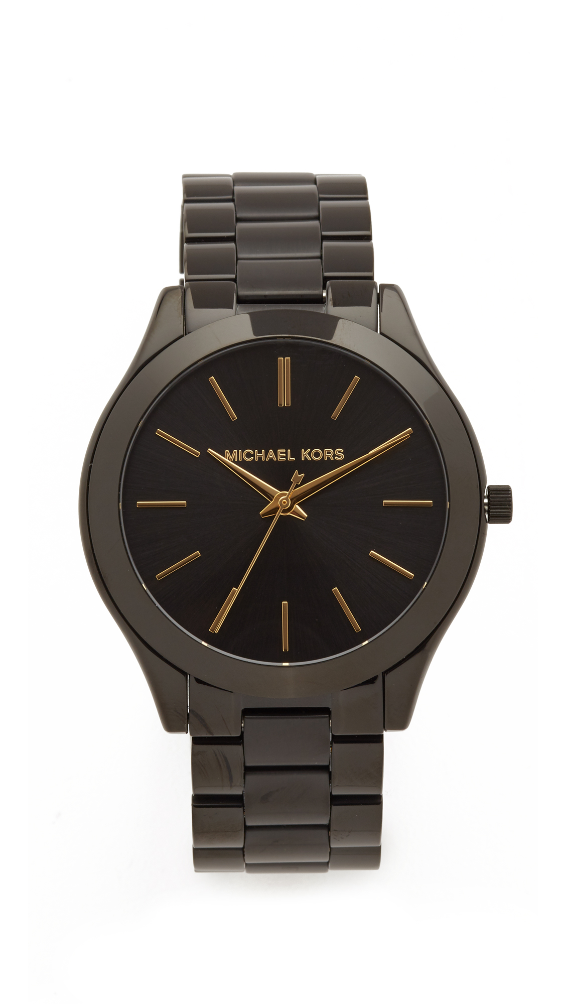 michael kors female michael kors slim runway watch black