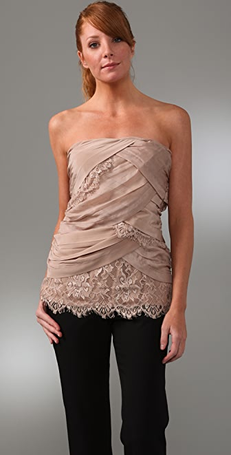 Madison Marcus Lace & Silk Tube Top