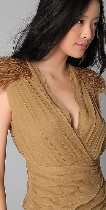 Madison Marcus Drama Dress with Feathers