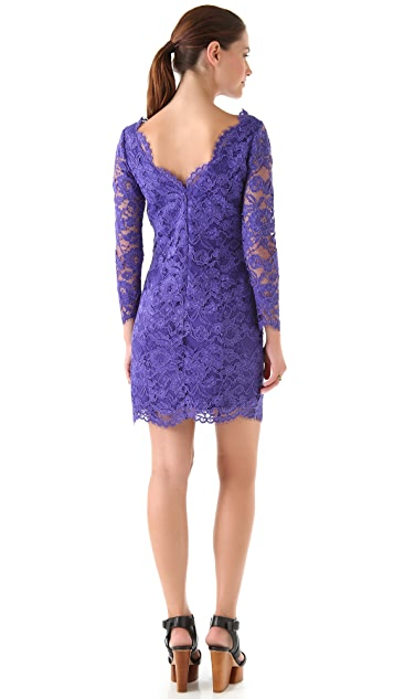 Madison Marcus Deep V Back Lace Dress
