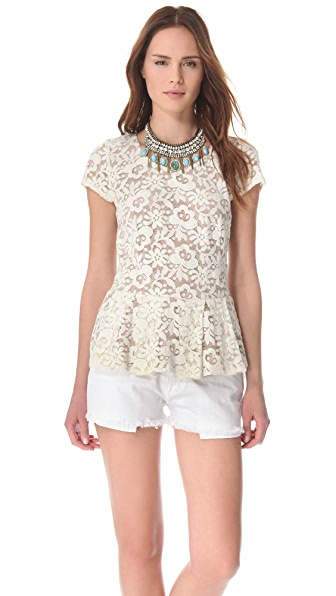 Madison Marcus Lace Peplum Tee