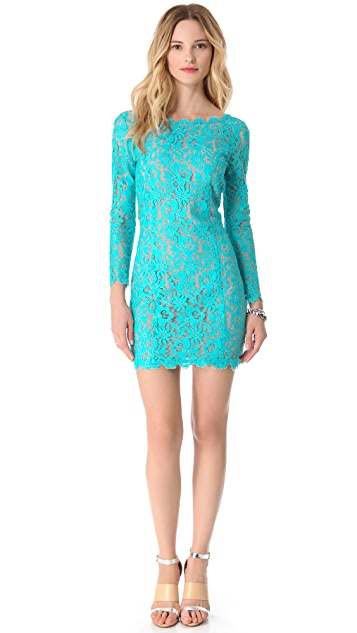 Madison Marcus V Back Lace Dress