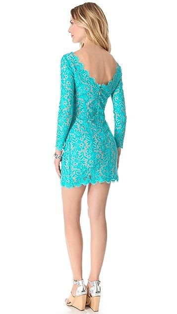 Madison Marcus V Back Lace Dress