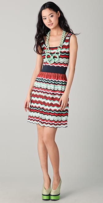 M Missoni Pointelle Zigzag Open Back Dress