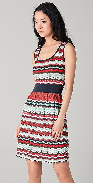M Missoni Pointelle Zigzag Open Back Dress