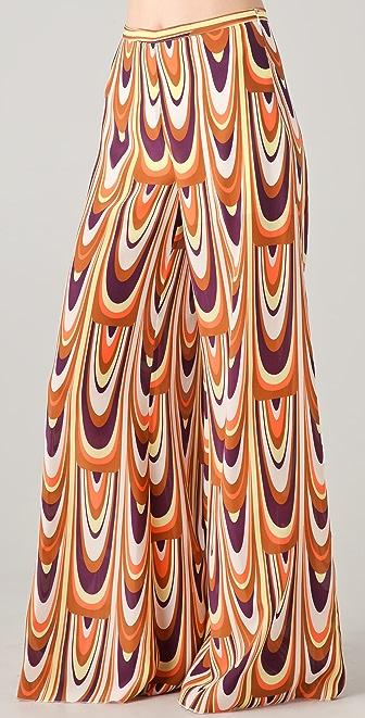 M Missoni Wide Leg Print Silk Pants