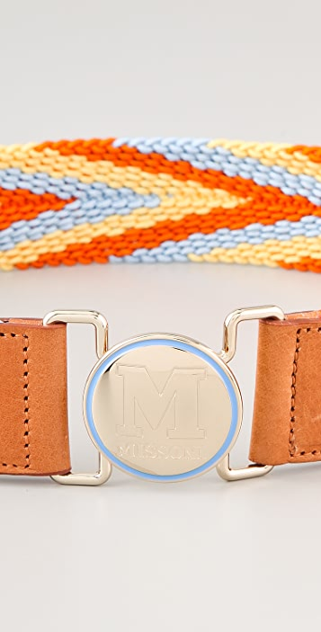 M Missoni Woven Logo Belt