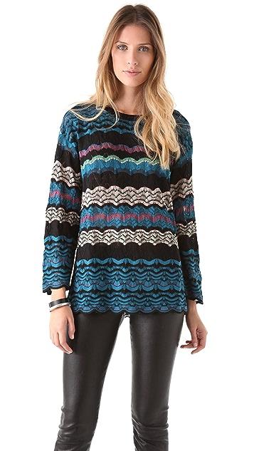 M Missoni Lace Weave Oversized Knit Sweater