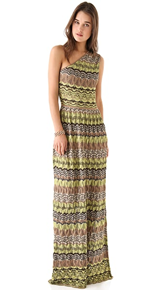 M Missoni Pointelle One Shoulder Gown