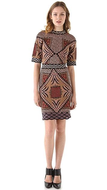 M Missoni Diamond Intarsia Short Sleeve Dress