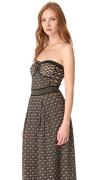 M Missoni Metallic Honeycomb Maxi Dress