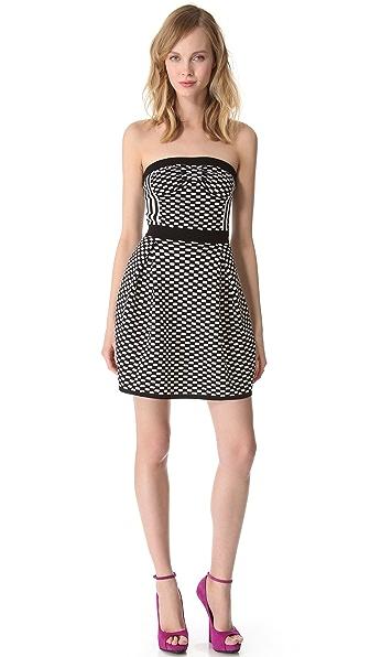 M Missoni Checkerboard Strapless Dress