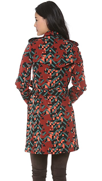 M Missoni Digital Camo Trench Coat