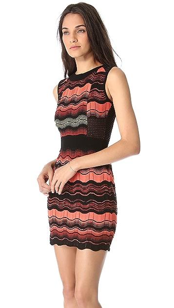 M Missoni Greek Key Mesh Stripe Dress