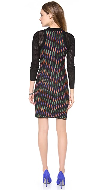 M Missoni Broken Zig Zag Contrast Sleeve Dress