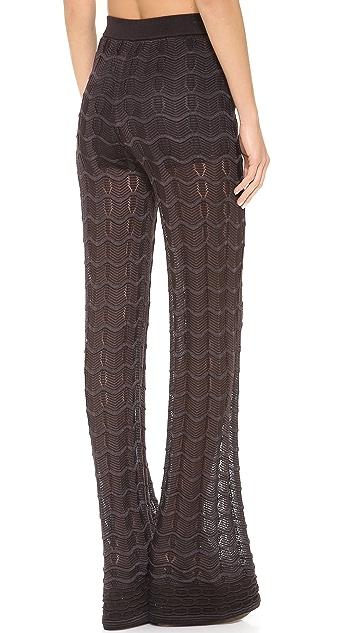 M Missoni Solid Knit High Waist Pants
