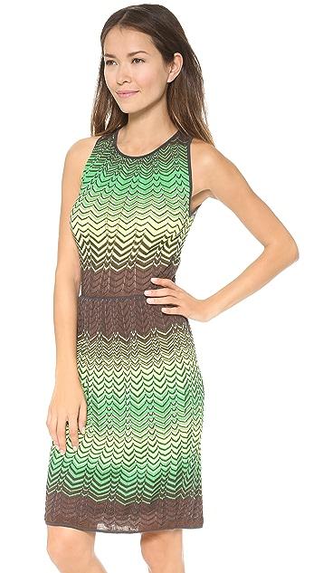 M Missoni Sheer Intarsia Zigzag Dress