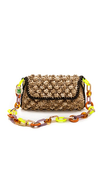 M Missoni Melange Raffia Shoulder Bag