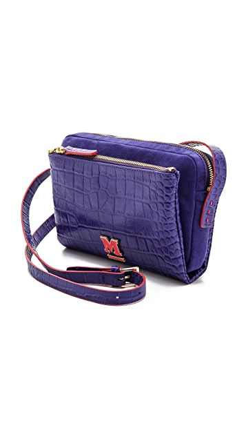 M Missoni Stamped Leather Shoulder Bag