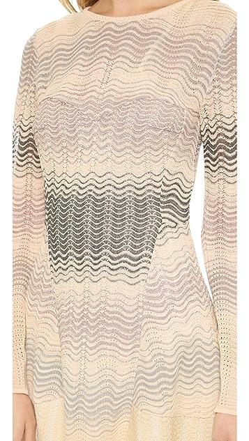 M Missoni Pointelle Ripple Knit Long Sleeve Dress