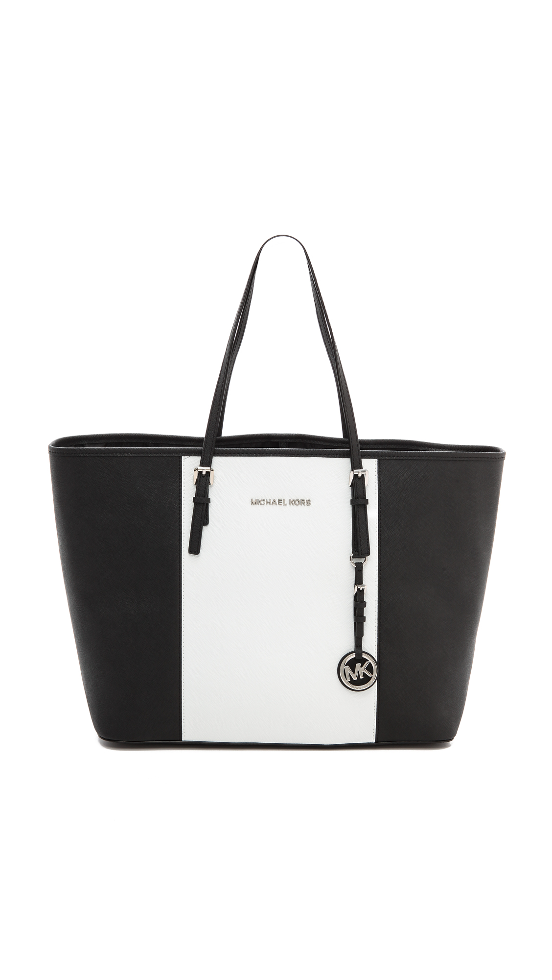 Michael Michael Kors Jet Set Travel Saffiano Leather Top-Zip Tote Navy Sale Online $ $ MICHAEL Michael Kors Jet Set Travel Saffiano Leather Top-Zip Tote White-Black.