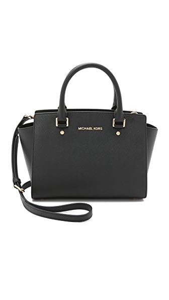 MICHAEL Michael Kors Selma Medium Top Zip Satchel - Black