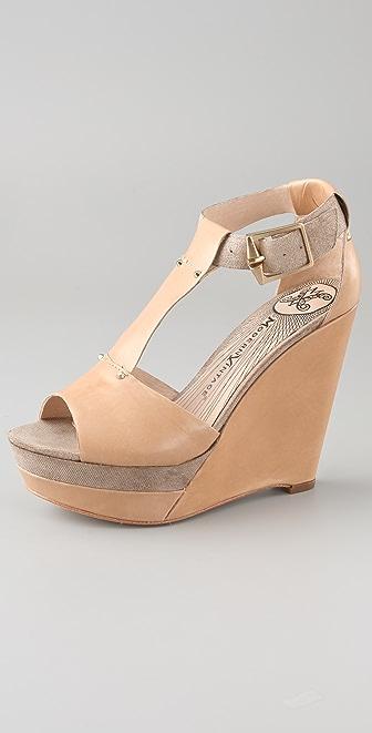 Modern Vintage Shoes Maria T Strap Wedge Sandals