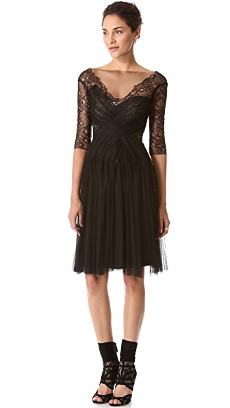 Monique Lhuillier Melted Lace Cocktail Dress