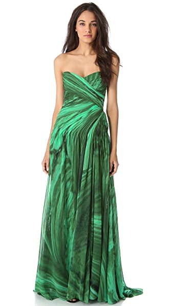 Monique Lhuillier Draped Strapless Gown