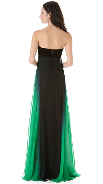 Monique Lhuillier Strapless Gown with Suede Bodice
