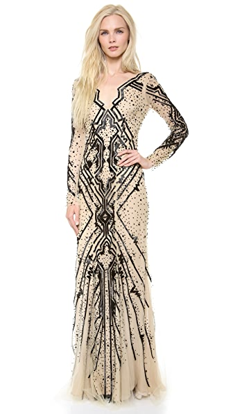 Monique Lhuillier Beaded Tulle Gown