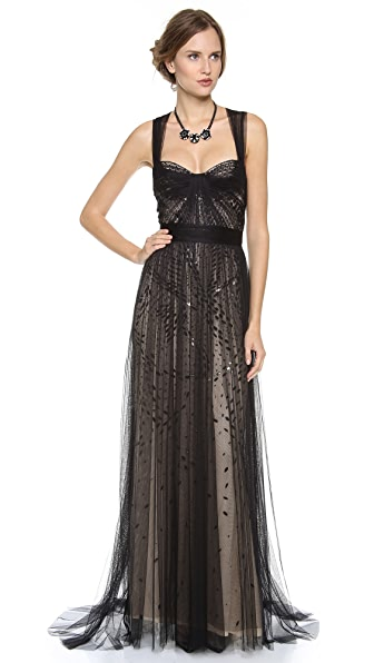 Monique Lhuillier Bustier Top Gown with Tulle Straps