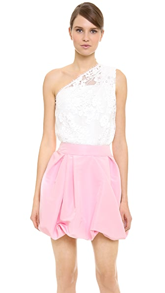 Monique Lhuillier Lace One Shoulder Top