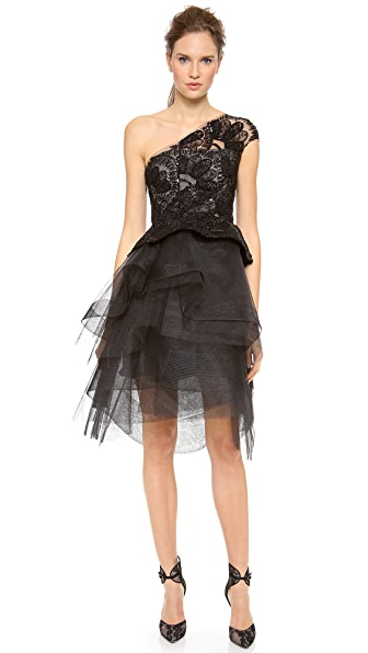 Monique Lhuillier One Shoulder Peplum Cocktail Dress with Tiered Skirt