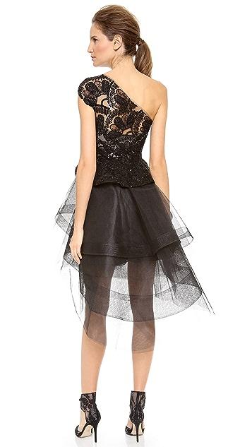 Monique Lhuillier One Shoulder Peplum Cocktail Dress with Tiered Skirt