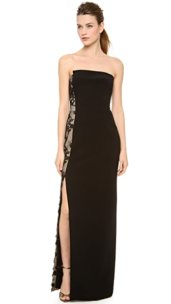 Monique Lhuillier Strapless Staggered Neckline Gown