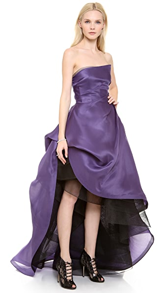 Monique Lhuillier Asymmetric Strapless High Low Gown