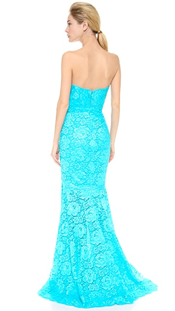 Monique Lhuillier Chantilly Lace Strapless Gown