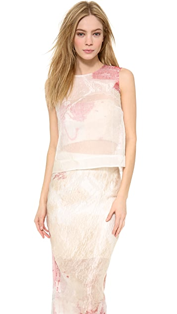 Monique Lhuillier Crinkled Shell Top