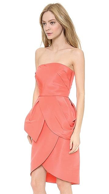Monique Lhuillier Strapless Peplum Cocktail Dress