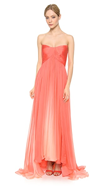 Monique Lhuillier Strapless Hi-Low Draped Gown