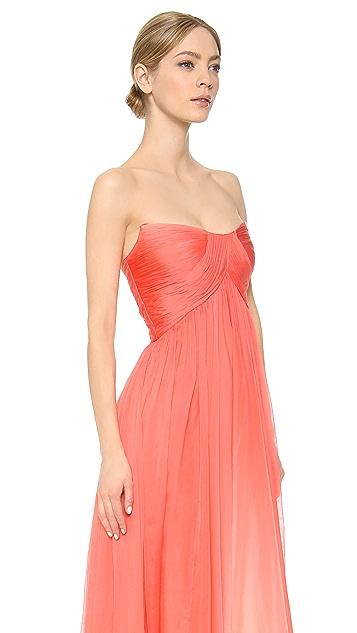 Monique Lhuillier Strapless Hi-Low Draped Gown