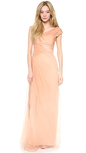 Monique Lhuillier Asymmetric Draped Gown