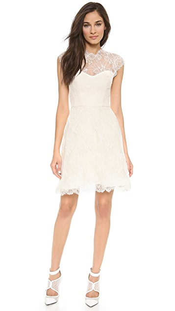 Monique Lhuillier Alessia Lace Dress with Back Keyhole