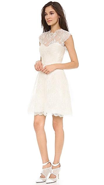 Monique Lhuillier Alessia Lace Dress with Back Keyhole